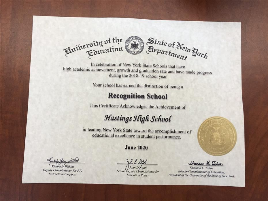 HHS Named Recognition School