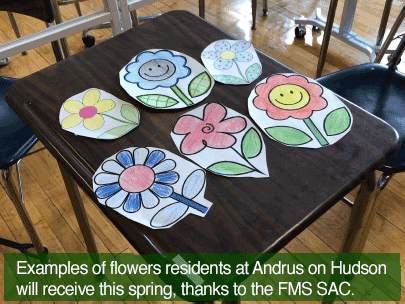 Examples of flowers residents at Andrus on Hudson will receive this spring, thanks to the Farragut Middle School SAC.