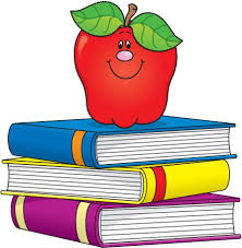 Smiling Apple on top of three books.