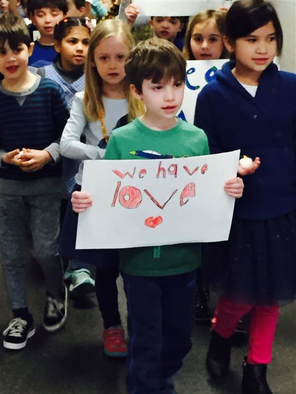Hillside First Grade Students Hold Peace March